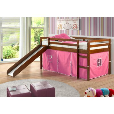 Tent Twin Low Loft Bed with Slide Finish: Light Espresso, Color: Pink