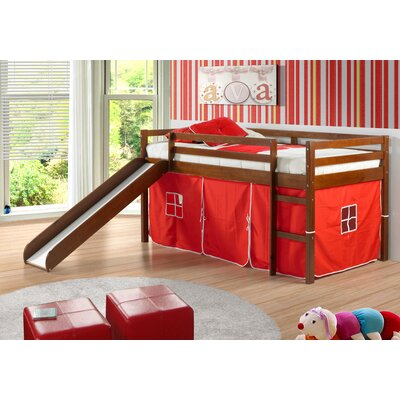 Tent Twin Low Loft Bed with Slide Finish: Light Espresso, Color: Red