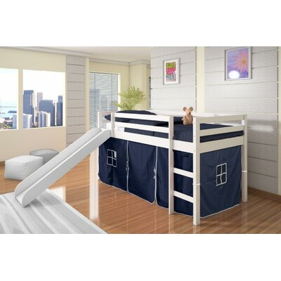 Tent Twin Low Loft Bed with Slide Finish: White, Color: Blue