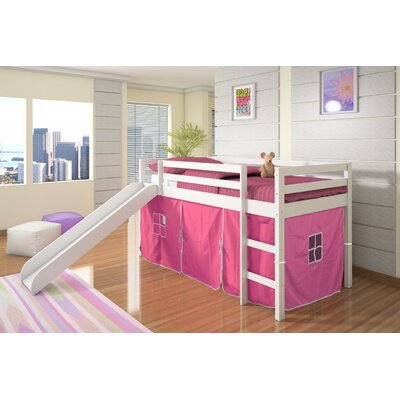 Tent Twin Low Loft Bed with Slide Finish: White, Color: Pink