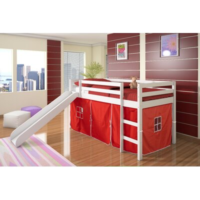 Tent Twin Low Loft Bed with Slide Color: Red, Finish: White