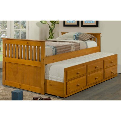 Captain Bed with Trundle Finish: Honey, Size: Twin