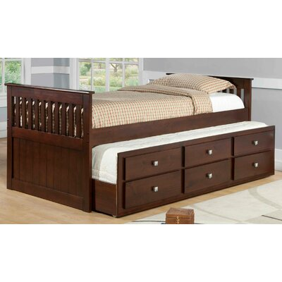 Captain Bed with Trundle Finish: Dark Cappuccino, Size: Twin