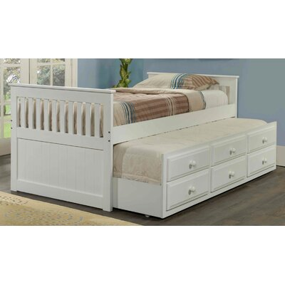 Captain Bed with Trundle Color: White, Size: Twin