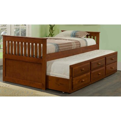 Captain Bed with Trundle Color: Light Espresso, Size: Twin