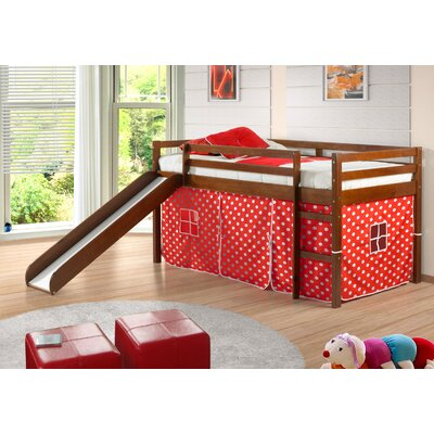 Tent Twin Low Loft Bed with Slide Color: Light Espresso/Red