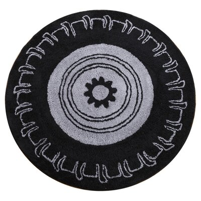 Teyos Tires Round Black/Grey Area Rug Rug Size: Round 5
