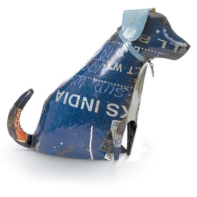 Boho Recycled Dog Sitting Figurine