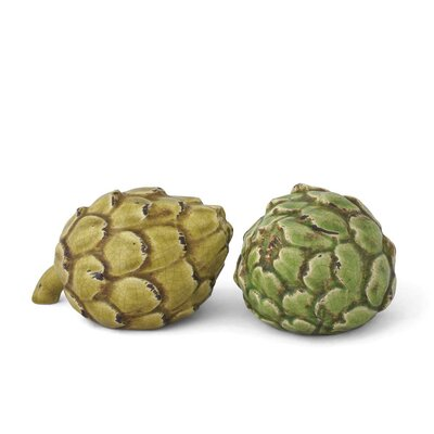 French Market Ceramic Artichoke Sculptures