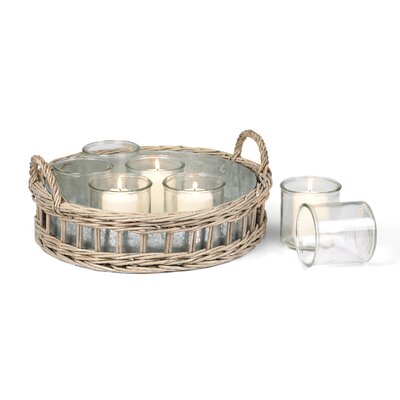 8 Piece Lyon Tray with Glass Votives Set