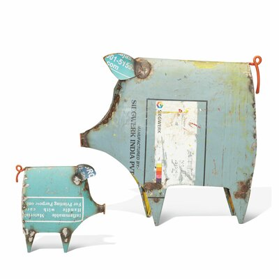 Boho 2 Piece Recycled Pig Figurine Set