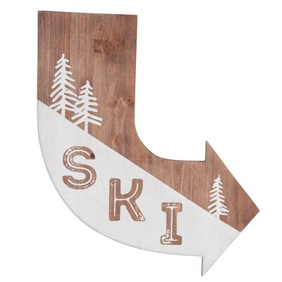 'SKI' Arrow Graphic Art Print on Wood FWAD01110