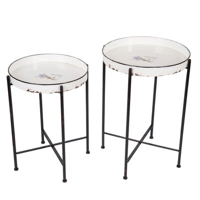 Enamel 2 Piece Nesting Table Set