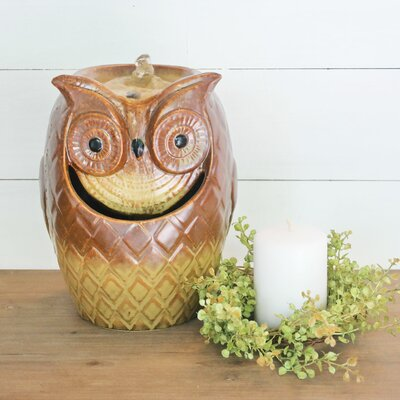 Image of Ceramic Stone Carved Owl Fountain