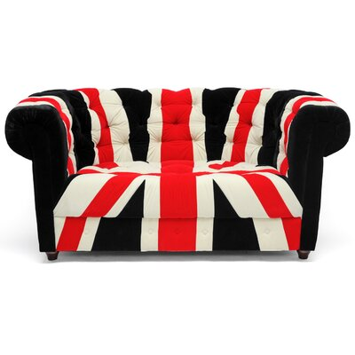 9930-UK FLAG-LOVESEAT WHI2036 Wholesale Interiors Baxton Studio Union Velveteen Sofa