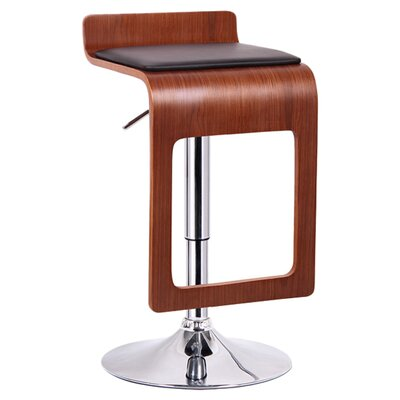 Baxton Studio Adjustable Height Swivel Bar Stool SD-2075-1-walnut/black-PSTL-2PC