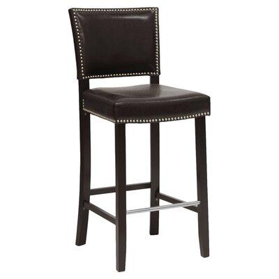 Baxton Studio 30.5 inch Bar Stool Upholstery: Dark Brown