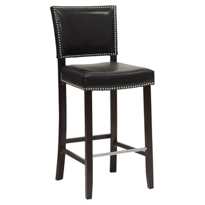 Baxton Studio 30.5 inch Bar Stool Upholstery: Black