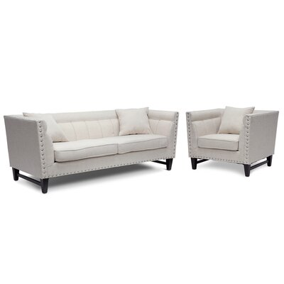 Baxton 2 Piece Living Room Set Upholstery: Beige