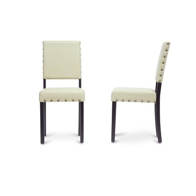 Baxton Studio Upholstered Dining Chair Frame Color: Black, Upholstery Color: Cream