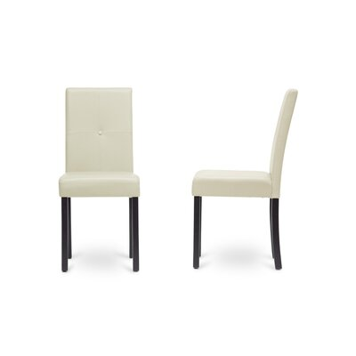 Curtis Upholstered Dining Chair Leg Color: Black, Upholstery Color: Cream
