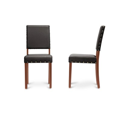Baxton Studio Upholstered Dining Chair Frame Color: Brown, Upholstery Color: Dark Brown