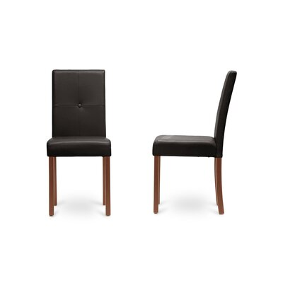 Curtis Upholstered Dining Chair Leg Color: Brown, Upholstery Color: Dark Brown