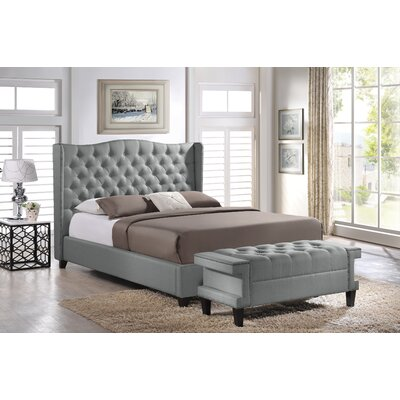 Baxton Studio Upholstered Platform Bed and Bench Set Size: King, Color: Grey