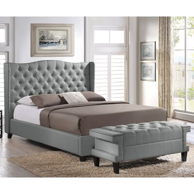 Baxton Studio Upholstered Platform Bed and Bench Set Size: Queen, Color: Grey