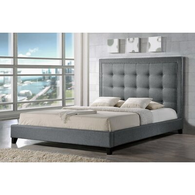 Baxton Studio Upholstered Panel Bed Upholstery: Grey, Size: Queen