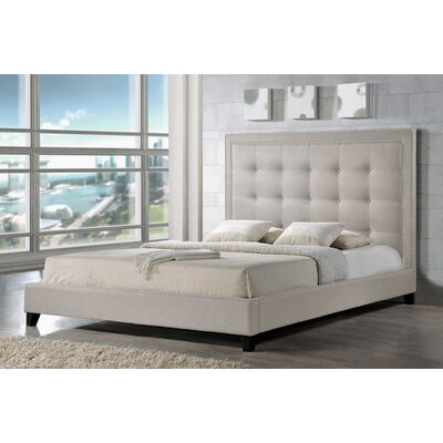 Baxton Studio Upholstered Panel Bed Size: King, Upholstery: Light Beige