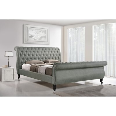 Wentworth Mansion King Upholstered Platform Bed Size: Queen, Color: Grey