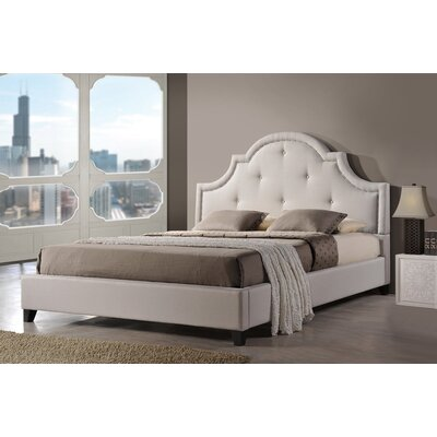 Baxton Studio Upholstered Platform Bed Size: King, Color: Light Beige