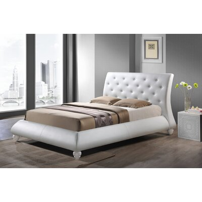 Utley Upholstered Platform Bed Size: King, Color: White