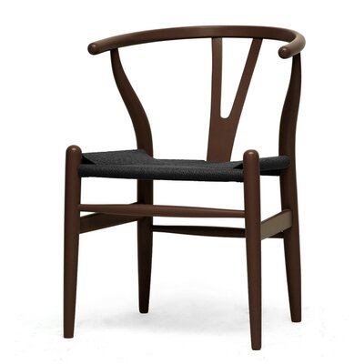 Baxton Studio Wishbone Y Side Chair Upholstery Color: Dark Brown with Black Seat