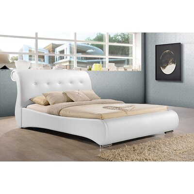 Baxton Studio Upholstered Platform Bed Size: Queen, Finish: White