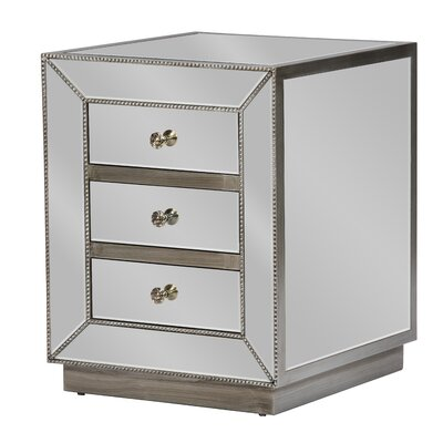 Baxton Studio 3 Drawer Nightstand