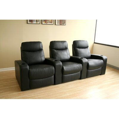 Baxton Studio Home Theater Recliner (Row of 3) Upholstery: Black