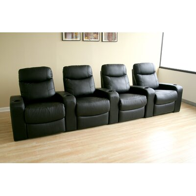 Baxton Studio Home Theater Recliner (Row of 4) Upholstery: Black