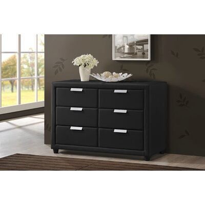 Baxton Studio Pageant 6 Drawer Combo Dresser Color: Black