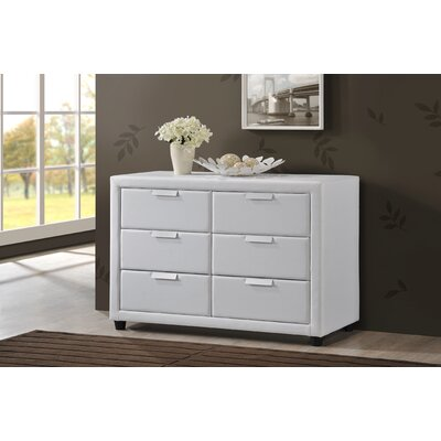 Baxton Studio Pageant 6 Drawer Combo Dresser Color: White