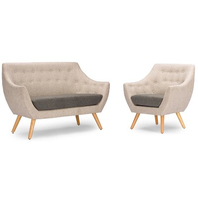 Wholesale Interiors DO-6273 2PC Set Baxton Studio Astrid Mid-Century Fabric Living Room Set