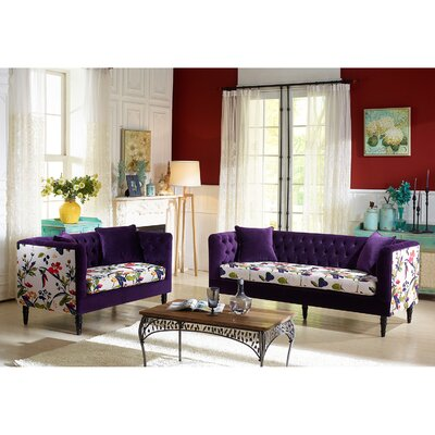Wholesale Interiors TSF-8127 Purple Velvet/Calico 2PC Set Baxton Studio Freya 2 Piece Living Room Set