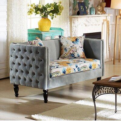 TSF-8125-LS Grey Velvet/Calico WHI6518 Wholesale Interiors Baxton Studio Penelope Loveseat