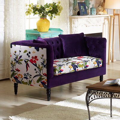 TSF-8127-LS Purple Velvet/Calico WHI6521 Wholesale Interiors Baxton Studio Freya Loveseat