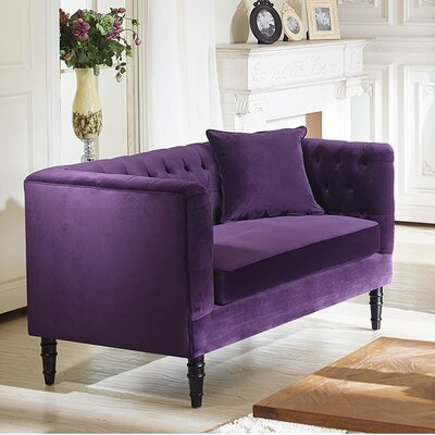 TSF-8127-LS Purple Velvet WHI6525 Wholesale Interiors Baxton Studio Rylee Loveseat