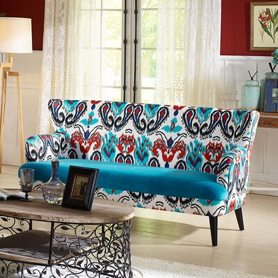 TSF-8126-SF Calico/Blue Velvet WHI6524 Wholesale Interiors Baxton Studio Lacey Sofa