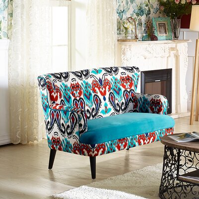 TSF-8126-LS Calico/Blue Velvet WHI6528 Wholesale Interiors Baxton Studio Lacey Loveseat