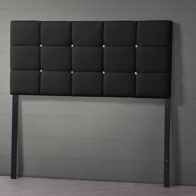 Baxton Studio Bordeaux Upholstered Panel Headboard Upholstery: Black, Size: Full