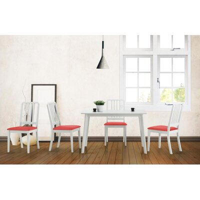 Baxton Studio Baxton 5 Piece Dining Set Upholstery Color: Red